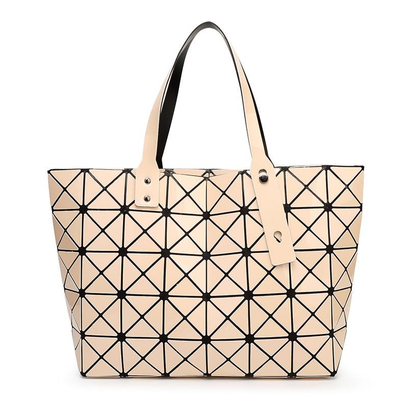 Ladies Japan BAOBAO Bag tote Geometric Women font b Handbag b font Sequins Laser Plain Folding