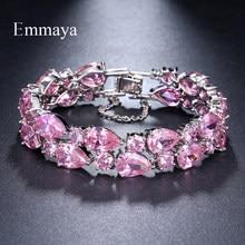 Emmaya – Bracelets en Zircon cubique pour femmes, couleur or blanc, Mona Lisa rose, Bracelet de luxe, cadeau de mariage
