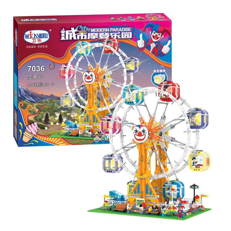 City Series Girl Friends Modern Paradise Ferris wheel With Lighting series  Building Block Toys Compatible with Lepin new 7033 friends series the city park cafe pirate ship model building block classic girl toys compatible with lepin