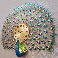 Creative Metal Auspicious Diamond Peacock Big Wall Clocks Handmade Needle Digital Quartz Mute Watch Wall Clock Decoration Gifts