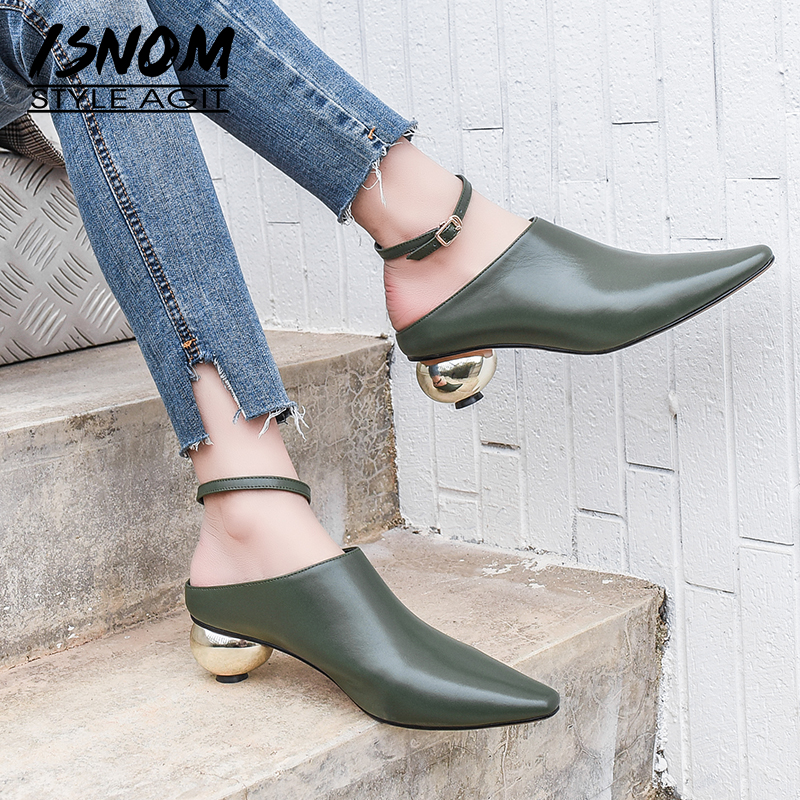 ISNOM Unusual Heel Pumps Women Square Toe Footwear Cow Leather Shoes Female Fashion Mules Shoes Woman