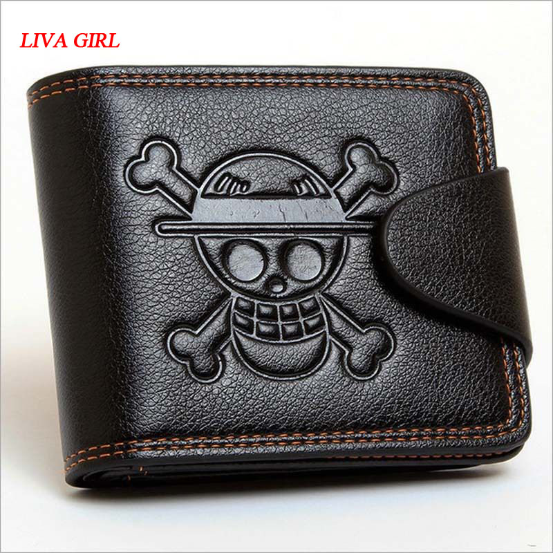 Responsible Men Boys One Piece Luffy Wallet Monkey D Luffy Straw Hat Pirates Anime Skull Wallet Purse Black Pu Leather Novelty & Special Use
