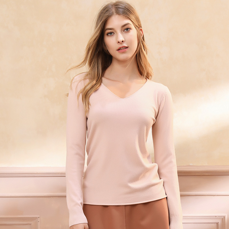 Sexy Wool Sweaters Fashion 2018 Women Casual Long Sleeve V neck Thin Knitted Jersey Autumn Pullover Sweater Female Jumper Pink