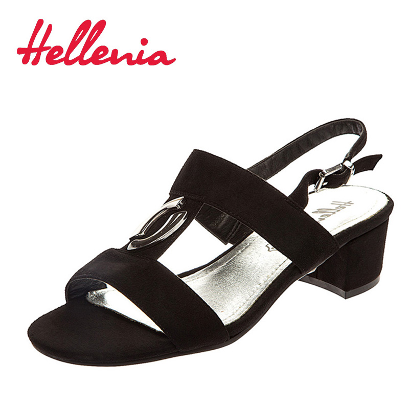 Hellenia 2018 fashion women shoes sandals open toe buckle black ladies ankle strap heels rubber sole fashion comfortable shoes new rhinestone women sandals ankle buckle strap fashion open toe comfortable chunky high heels red black shoes zapatos mujer
