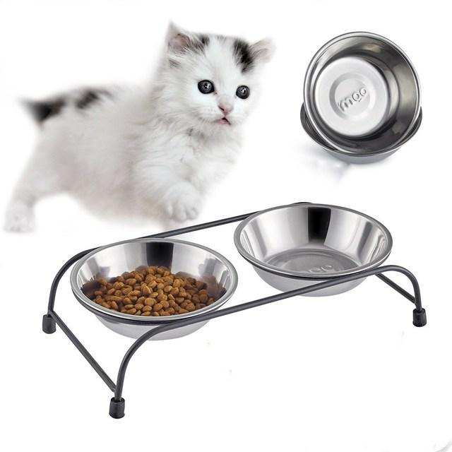 2017 Cute Nice Dog Cat Pet Food Water Feeder Double Stainless Steel