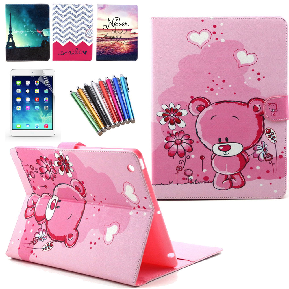 Flip Stand For iPad 2 3 4 Case Cartoon Owl Bear PU Leather Cover for iPad 2 3 4 Case 9.7'' Smart Free Screen Protector + Pen cartoon painted flower owl for kindle paperwhite 1 2 3 case flip bracket stand pu cover for amazon kindle paperwhite 1 2 3 case