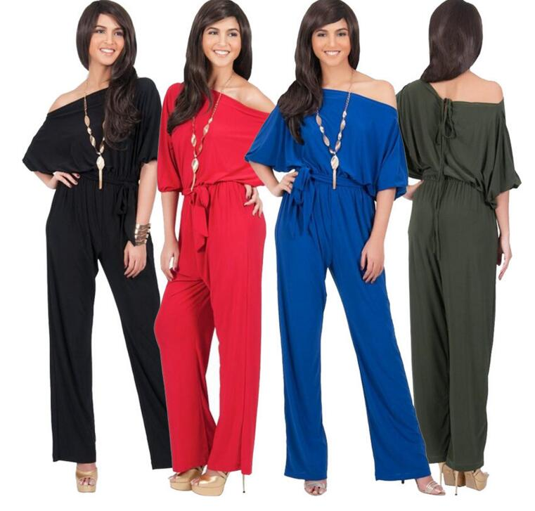 JOYINPARTY Jumpsuit Cut Out Off Shoulder Fashion loose short Sleeve Ladies Casual Jumpsuits