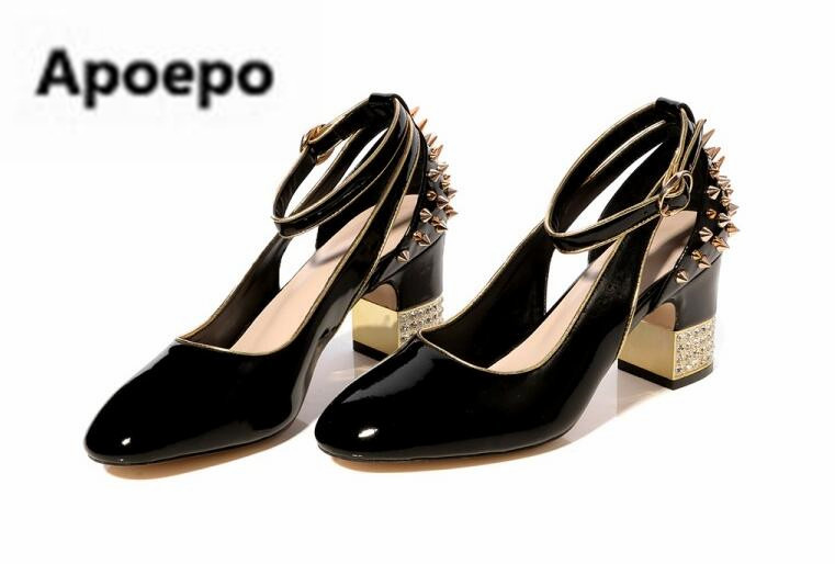 Apoepo luxury pumps shoes black red Patent leather dancing shoes gold rivet high heels pumps women crystal mary janes shoes 2018