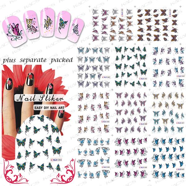 2015 NUEVO 50 Unids/lote BLE1390-1400 Mariposa Pegatinas de Uñas de Arte de Uñas Postizas de Diseño Manicura Tatuajes de Nail Art Agua Decal