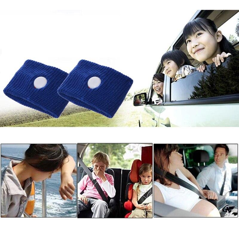 Fashion New 2Pcs Universa Polyester Travel Morning Sickness Wrist Band Anti Nausea Car Van Sea Plane Wristband Motion Sickness