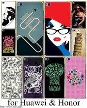 Мода красочный дизайн печатной жесткий прозрачный case обложка для huawei p6 p7 p10 p8 p9 lite плюс & honor 8 lite 6 7 4c 4x g7