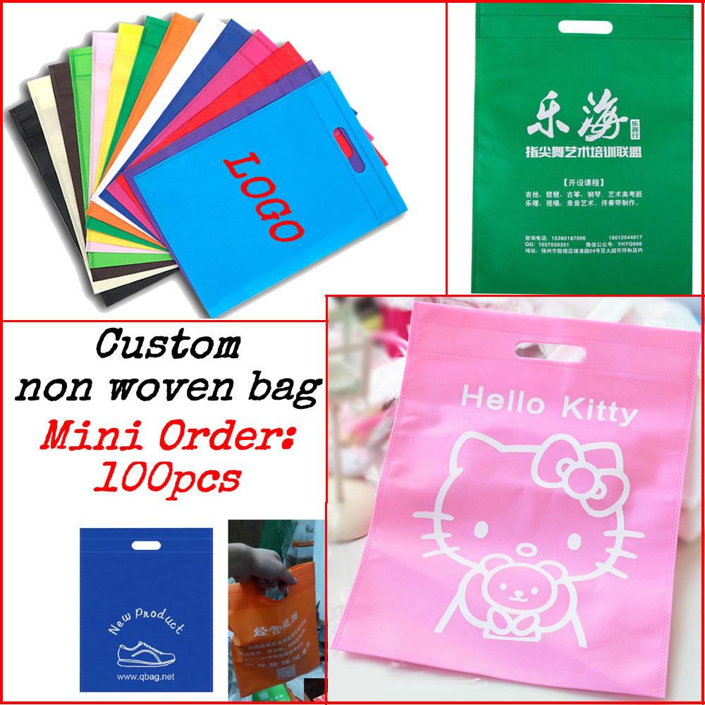 Custom printing logo non woven/gift bag/packaging bag/shopping bag/non-woven fabrics bag 100pcs/lott