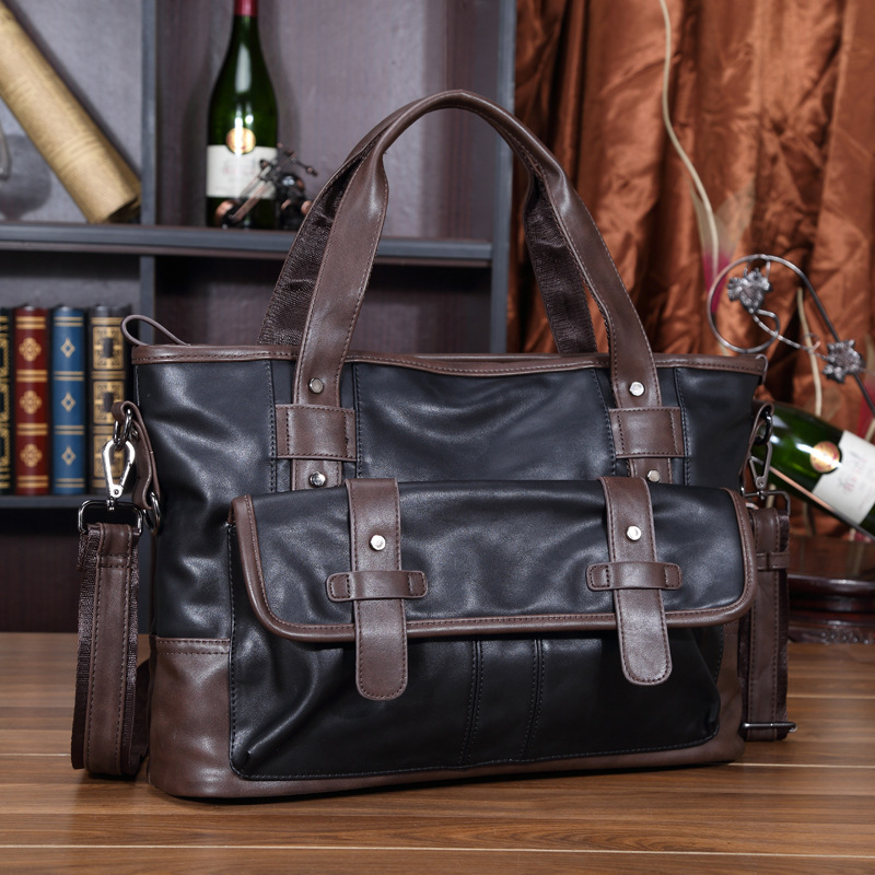 3dd0445f100 Promotion Simple Famous Brand Business Men Briefcase Bag Luxury Leather Laptop  Bag Man Shoulder Bag bolsa maleta