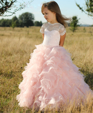 Cute Blush Pink Flower Girl Dresses Organza Ruffled vestidos de comunion Lace Short Sleeve