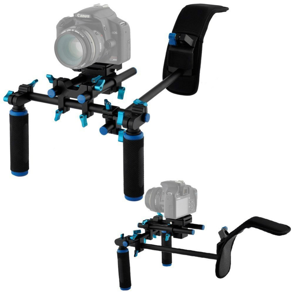 YLG0102H DSLR Shoulder Mount Support Rig with Camera/Camcorder Mount Slider Shoulder Lift Set Double-hand Handgrip Holder Set koolertron professional 15mm rail dia dslr shoulder pad support mount rig hand grip for cannon sony dv hdv hd camcorder