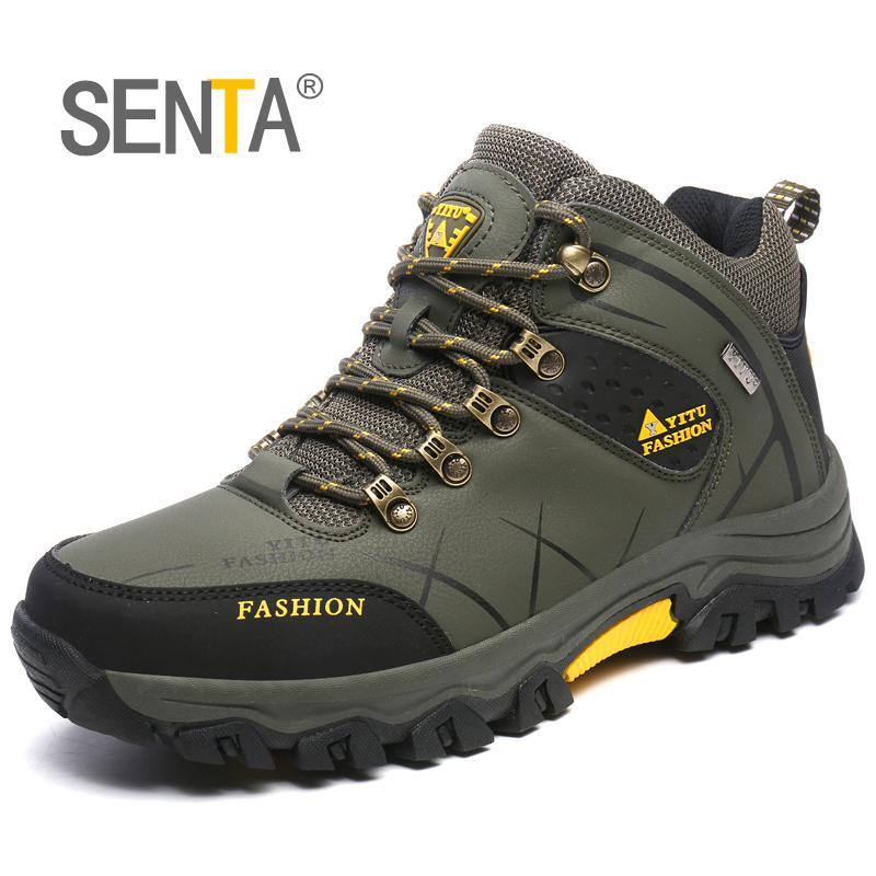 SENTA Big Size New Arrival Winter Men Warming Fur Hiking boots Outdoor Antiskid Trekking Sports Shoes Men Hiking Sneake 39-47 цена