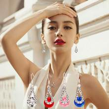 Big Crystal Pendant Earrings Fashion Long Paragraph Brilliant Drop Earrings Jewelry Ornaments Fabulous Earring Oorbellen Bijoux(China)