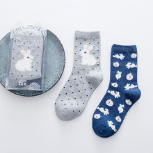 Kha Zix Brand 2 Pairs Combed Cotton Brand Women Men Socks,3d Cartoon Rabbit Radish Stripes Colorful Dress Socks with Gift Box