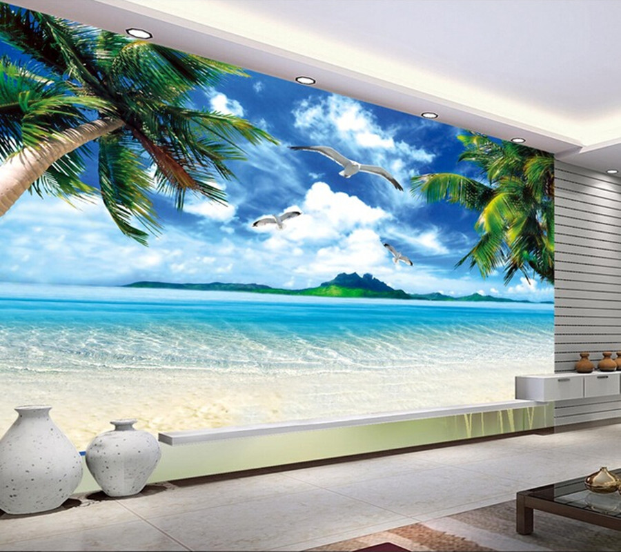 Custom wall mural landscape, Hawaii beach murals for the living room bedroom TV background wall waterproof vinyl papel de parede custom green forest trees natural landscape mural for living room bedroom tv backdrop of modern 3d vinyl wallpaper murals