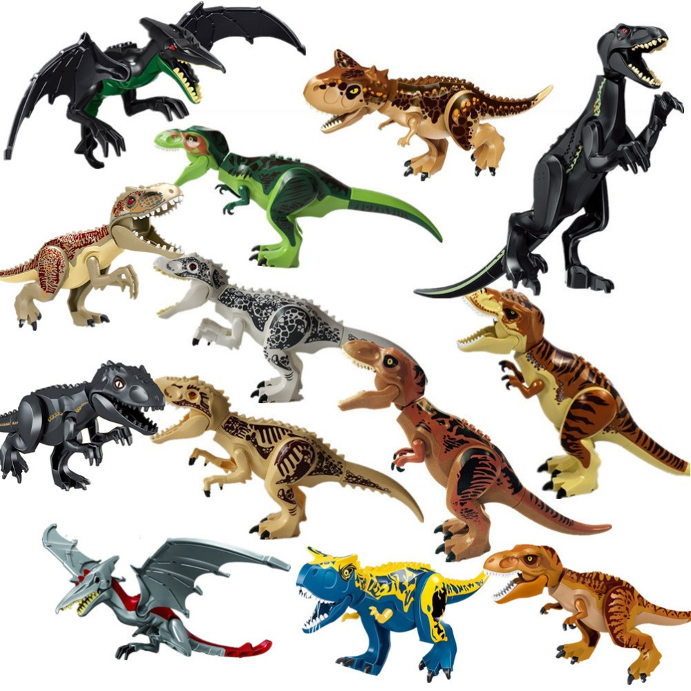 ขายส่ง 16pcs หมีขั้วโลก carnotaurus triceratop Dinosaur T rex Building Blocks อิฐของขวัญเด็กของเล่นเด็กการศึกษาชุด-ใน บล็อก จาก ของเล่นและงานอดิเรก บน   1
