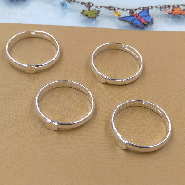 20 Silver Plated Adjustable Ring Settings 4mm Round Blank Base Trays Bezel For Cabochon Cameo DIY Fashion Rings