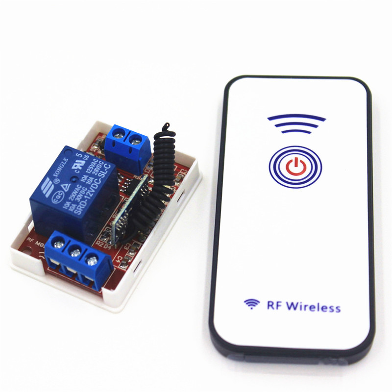 433Mhz Universal Wireless Remote Control Switch DC 12V 1CH relay Receiver Module and RF Transmitter 433 Mhz Remote Controls 1527 universal 433 mhz 2 channel remote control learning code 1527 relay receiver module wireless diy garage gate door switch dc 12v
