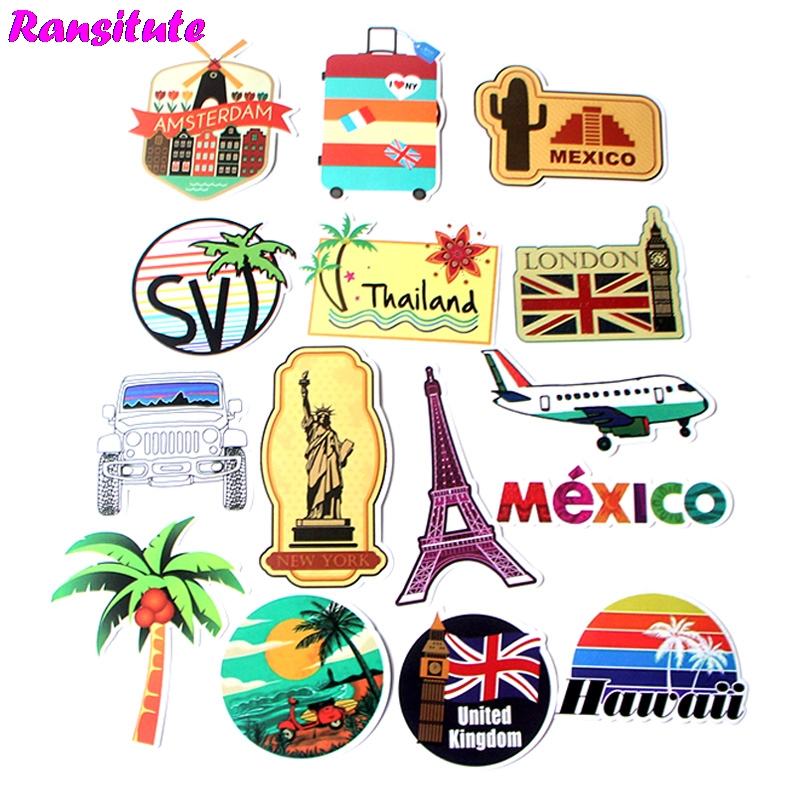 15Pcs/set Travelling Funny Children's Toy Sticker DIY Luggage Laptop Skateboard Motorcycle Mobile Phone Waterproof Sticker R420