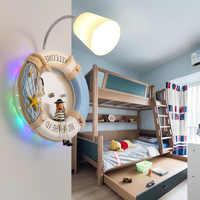 Nhựa hiện đại Tường Đèn Princess 'trẻ em phòng Frosted glass tường sconces swim ring phim hoạt hình đèn phòng ngủ đáng yêu LED Đèn Tường