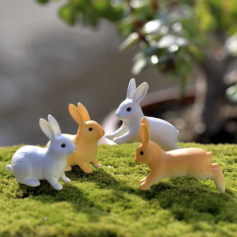 2/4pcs Cute Decor model figure hare modern statue Simulation Mini Rabbit Garden Ornament Miniature Figurine Plant Pot Fairy