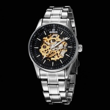 GOER brand Men s sports Mechanical Wrist watch Stainless Steel waterproof male Automatic Luminous Skeleton digital