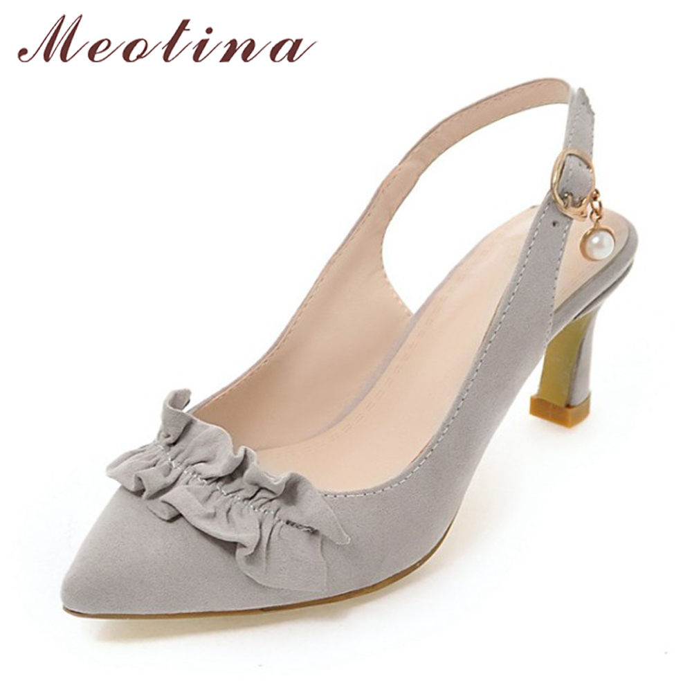 Meotina Shoes Women Pumps Slingbacks Fashion Ladies Pumps Pointed Toe Ruffles High Heels Office Lady Footwear Gray Plus Size 10