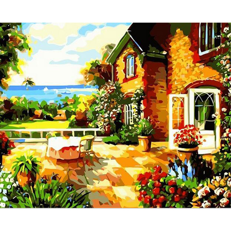 wall art quadros Coloring by numbers flower pictures