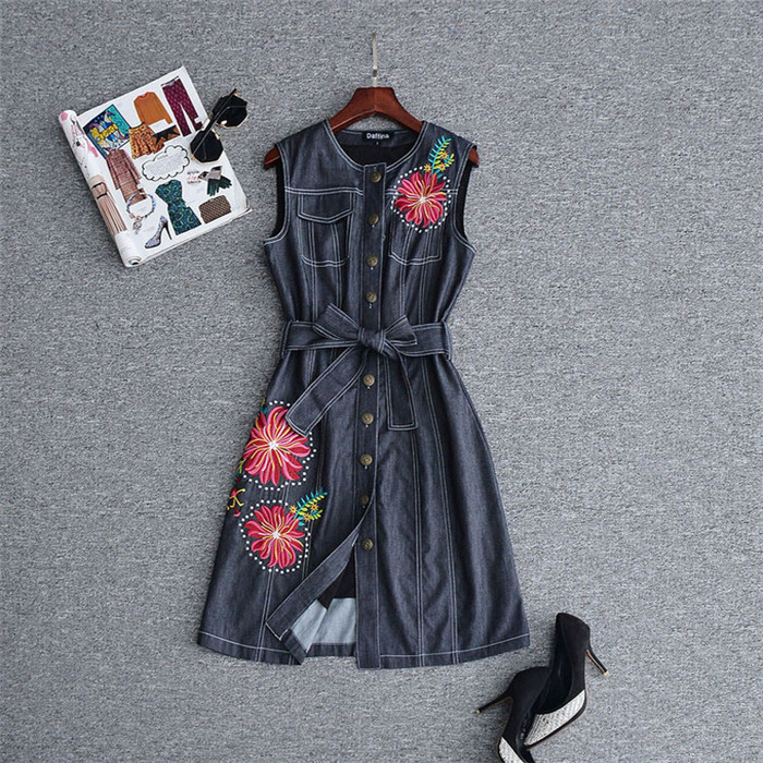 2018 summer runway designer women dresses high quality vintage luxury embroidered single breasted dress sleeveless black denim