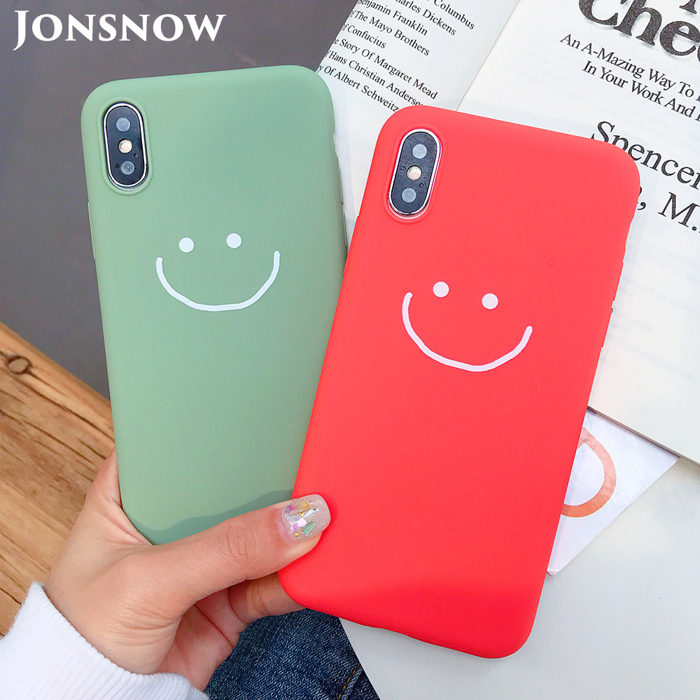 KIPX1083_1_JONSNOW Phone Case for iPhone X XR XS Max Candy Color Smiley Pattern Soft Silicone Case for iPhone 7 8 6S 6 Plus Back Cover