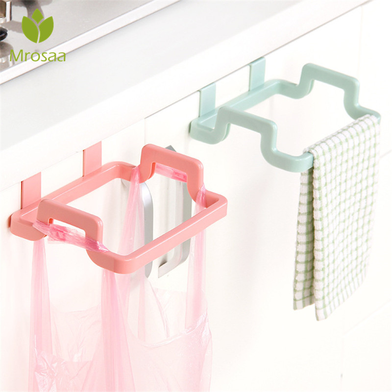 Fashion Cupboard  Bag Clips Door Back Trash Rack Storage Garbage Bag Holder Hanging Kitchen Cabinets Storage Towel Shelf Holders