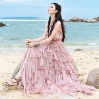 Бесплатная доставка 2018 Новые Модные Длинные Макси летние женские оборки цельные пляжные без рукавов Boshow платья S L белое и розовое платье