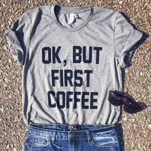 new ok but first coffee tshirt women mom of boys shirt summer graphic tees woman baseball tops plus size 90s top pink
