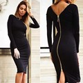 2017 sexy women Winter Dress spilt backless black nude red Long Sleeve zipper celebrity Party Bandage Dresses bodysuit vestido