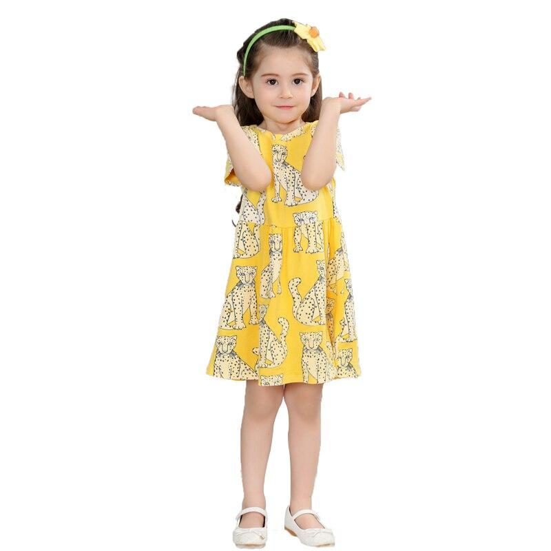 f9b651e85 Vestido de Niña de verano Amarillo Vestidos Casuales Ropa de Los Cabritos  Muchachas de La Manera Vestido Estampado de Leopardo Bata Enfant Fille Ropa  de Los ...