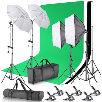 Neewer 2.6M x 3M/8.5ft x 10ft Background Support System and 800W 5500K Umbrellas Softbox Continuous Lighting Kit