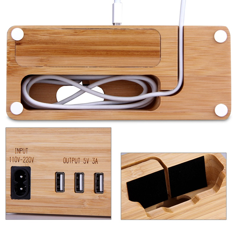 2 in 1 Mobile Phone Holder 3 USB Charger Storage Universal Wood Charging Dock Stand Fast