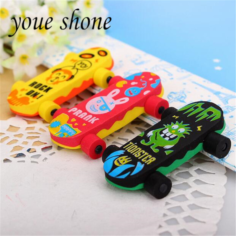 Youe Shone 1pcs Cartoon Cute Eraser Skateboard Student Stationery Eliminate Rubber School Supplies Erasers For Kids