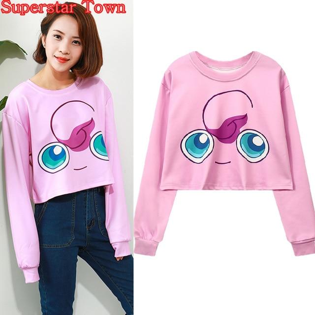 7681bb47e Cropped Hoodies Happy Jigglypuff Sweatshirts Harajuku Japan Anime Kawaii  Clothes Pink Sweatshirt Sexy Casual Women Crop