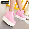 COOTELILI 35-39 Spring Wedges Casual Women Shoes Flat Platform High Heels Solid Round Toe Girls Rubber Inside Heighten Shoes