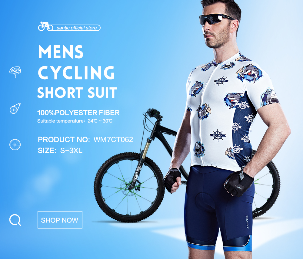Santic Men Cycling Padded Short Set Pro-fit Father and Son Riding Dress Santic Elastic Technology 2-3 hours Pad  S-3XL WM7CT062 santic men s cycling hooded jerseys rainproof waterproof bicycle bike rain coat raincoat with removable hat for outdoor riding