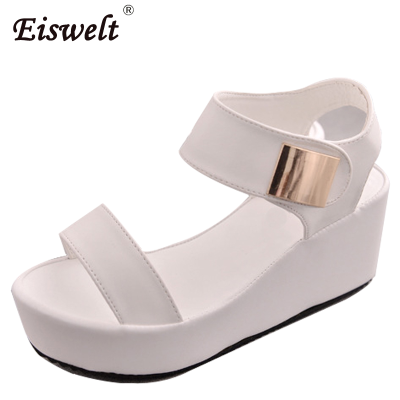 Eiswelt/женские босоножки Лето 2017 г. Для женщин на платформе в сдержанном стиле Повседневная обувь с открытым носком Женская мода Толстая подошва сандалии на танкетке # zqs054