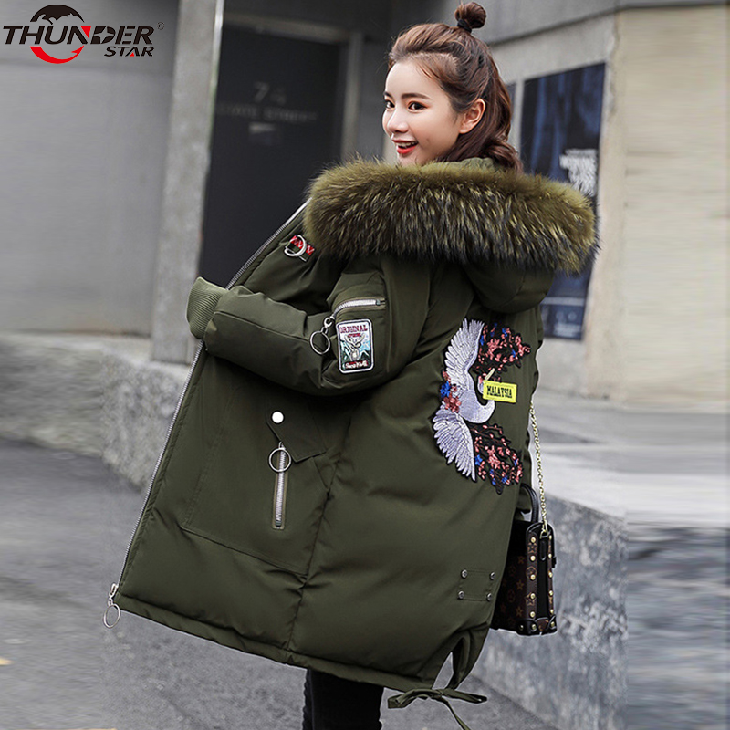 Female Jacket Large Fur Winter Jacket Women 2018 Warm Thicken Hood Winter Coat Women's Cotton Down   Parka   Plus Size