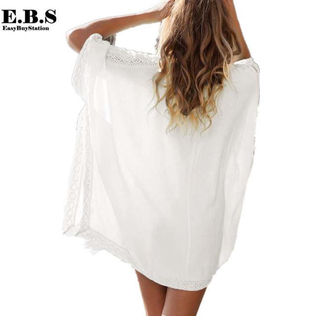 cd7140aedbcd0 Hot sale fashion women beach scarf tops sexy lady cotton lace beach shirt  swimwear bikini cover
