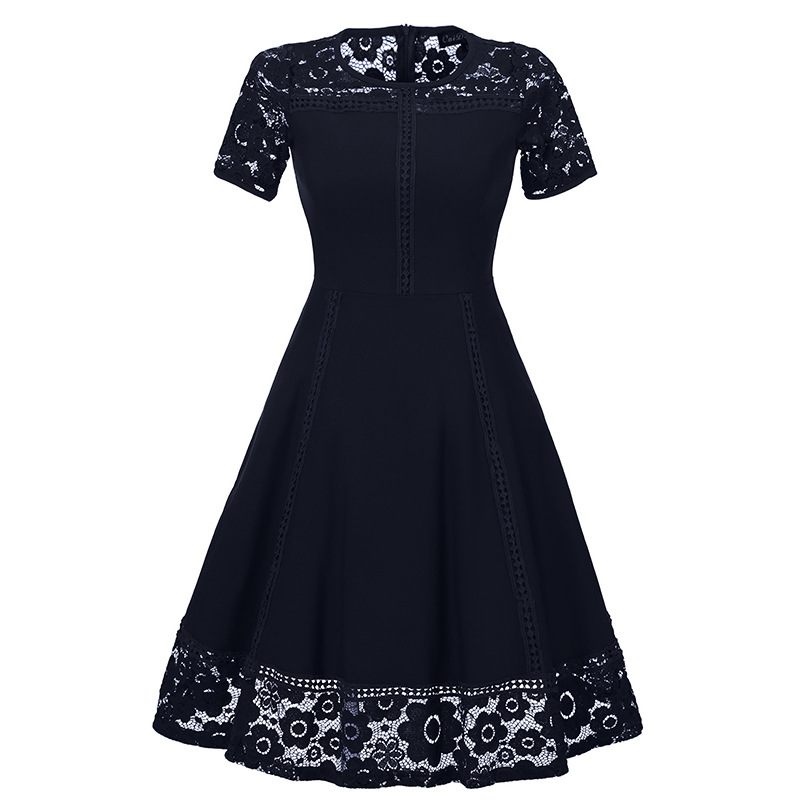 new high quality dress womens round neck stitching hollow out dress women lace slim dress party evening dinner dresses in Dresses from Women 39 s Clothing
