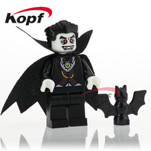 PG1077 The Horror Theme Movie Vampire Count Zombie Freedy Ring Halloween Education Building Blocks Brick For Children Gift Toys(China)